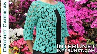getlinkyoutube.com-Crochet lace summer top - front tie cardigan crochet pattern. Part 1 of 2