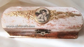 getlinkyoutube.com-Decoupage tutorial - DIY. How to decorate a box with volume 3d gilding. Vintage style.