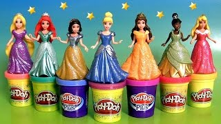 getlinkyoutube.com-7 Disney Princess MagiClip Collection Tiana Rapunzel Cinderella Magic-Clip Play-Doh-Plus Sparkle