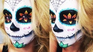 getlinkyoutube.com-Sugar Skull Halloween Tutorial ♡ Collab w/ AlliNicoleee and MakeupWithJah!