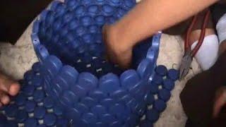 getlinkyoutube.com-Cara membuat bak sampah dari limbah tutup botol