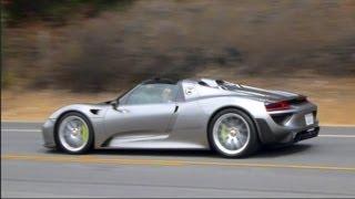 getlinkyoutube.com-Porsche 918 Spyder Near Crash! Full Throttle Acceleration, Engine Starts Up, Flyby Sounds
