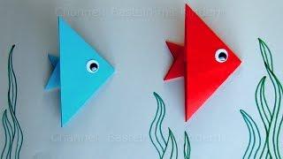 getlinkyoutube.com-Fische basteln mit Kindern - Ideen zum Geschenk basteln mit Papier - Leichten Origami Fisch falten