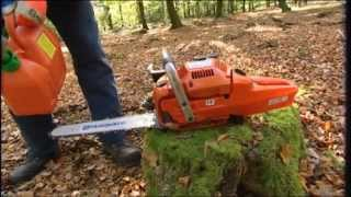 getlinkyoutube.com-How to work with a chainsaw - Tutorial from Husqvarna