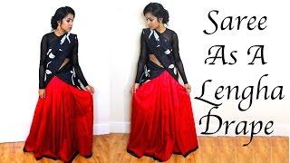 How to Drape a Saree into a Lehengha / Half Saree Tutorial   Thuri Makeup