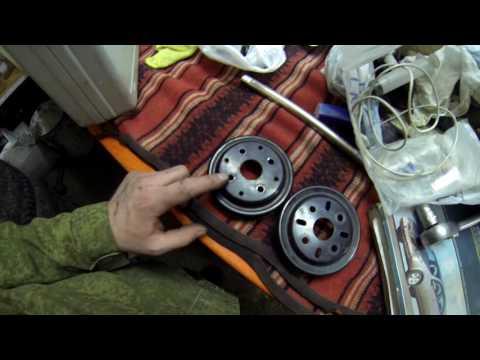 Замена шкивов коленвала и помпы Nissan Primera P12