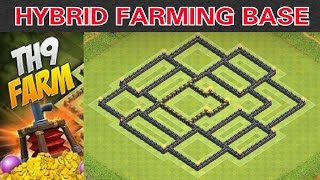 getlinkyoutube.com-Town Hall 9 *New* (Hybrid Farming Base 2015) - Protect Townhall/Storages + Speed Build