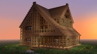 getlinkyoutube.com-MINECRAFT: How to build big wooden house