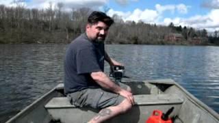 getlinkyoutube.com-12' John boat with 2 hp Evinrude outboard running