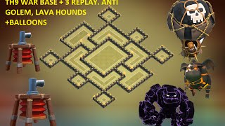 TH9 war base 2015 + Replay ANTi Gowipe , ANTI Lava Hounds & Balloons Town Hall 9 Base Design