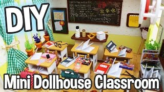 getlinkyoutube.com-DIY Miniature Dollhouse Kit Cute School Classroom Roombox with Working Lights! / Relaxing Crafts