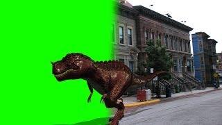 getlinkyoutube.com-T-Rex dinosaur walk by Street - green screen Footage