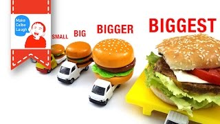 getlinkyoutube.com-Learn Sizes from Smallest to Biggest for kids with tomica 2015 hamburger car