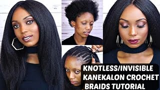 getlinkyoutube.com-Crochet Braids With Kanekalon Hair Tutorial Knotless/Invisible Part
