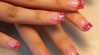 getlinkyoutube.com-Silver Glitter Pink Tips Acrylic Fingers Nail.