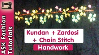 getlinkyoutube.com-Kundan + Zardosi + Chain Stitch (Aari/Crochet) Work Tutorial | Handwork | in Hindi
