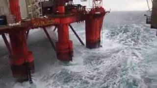 Watch as 50ft waves hit North Sea oil platform