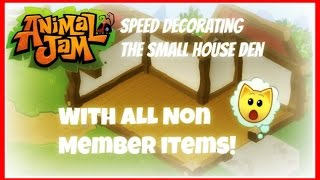 getlinkyoutube.com-Animal Jam: Speed Decorating The Small House Den With ALL Non Member Items!