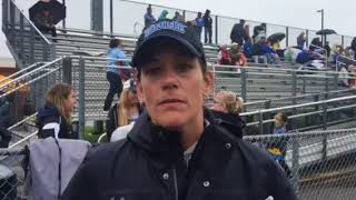 Westminster lacrosse coach Jackie Stevens and Madi Macera and Anna Ruby 05/19/18
