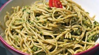getlinkyoutube.com-Healthy Spinach Pesto Pasta Recipe