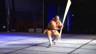 getlinkyoutube.com-Shaolin Warriors Group Staff Demo