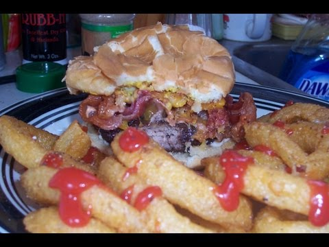 Deep Fried Bacon Cheeseburger & Onion Rings