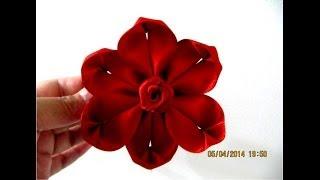 getlinkyoutube.com-Flores kanzashi six petals flower kanzashi en cintas para el cabello