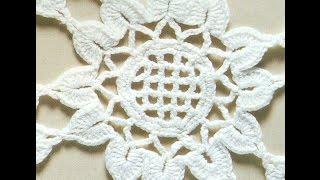 getlinkyoutube.com-Patrón para tejer mantel redondo con flores a crochet