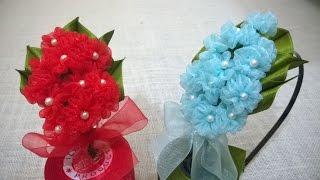getlinkyoutube.com-D.I.Y. Organza Hydrangea Flower Headband | MyInDulzens
