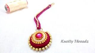getlinkyoutube.com-How to make a Silk Thread Maang Tikka !!