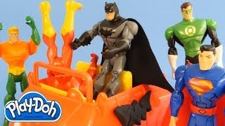Play Doh Superhero Showdown Batman Superman Flash Green Lantern Cyborg Aquaman Play Dough Battle