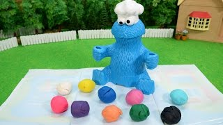 getlinkyoutube.com-プレイドー クッキーモンスター レターランチ / Gobble Gobble!! Clay Lunch for Cookie Monster!