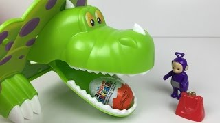 getlinkyoutube.com-Teletubbies Tinky Winky With Dino And Kinder Surprise Chocolate Egg
