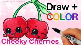 getlinkyoutube.com-How to Draw + Color  Shopkins Cheeky Cherries step by step Cute Season 4