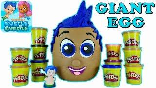 getlinkyoutube.com-JUMBO PLAY DOH Bubble Guppies Egg Surprise ★ Plastilina Gigante Huevo Sorpresa