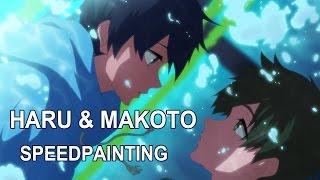 getlinkyoutube.com-[FanArt] Haru & Makoto - High Speed! Starting Days Speedpainting