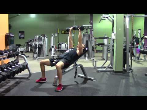 Incline Dumbbell Bench Press - HASfit Upper Chest Exercise Demonstration - Incline Dumbbell Press