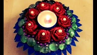 getlinkyoutube.com-10-minutes DIY: Decorative CANDLE HOLDER with paper plate and foam sheets!