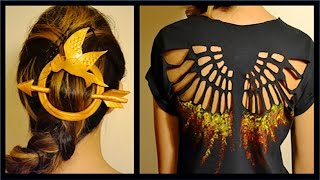 getlinkyoutube.com-HUNGER GAMES SHIRT & HAIR PIN- DIY