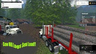 getlinkyoutube.com-Farming Simulator 2015 Gear Box on semi, Hauling logs