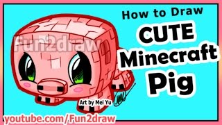 getlinkyoutube.com-How to Draw Minecraft Characters - Pig + Fun Extra Drawing - Best Cartoon Art Lessons by Fun2draw