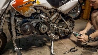 getlinkyoutube.com-6.5hp Baja DR49 Mini Bike - Clutch to Torque Converter
