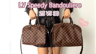 getlinkyoutube.com-Louis Vuitton Speedy B 25 VS 30 Comparison, Speedy Bandouliere 25, Bandouliere 30,Mod Shots