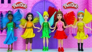 getlinkyoutube.com-Tinkerbell Fairy Play Doh Dresses - Disney Princesses Anna Belle Cinderella Magic Clip Dolls