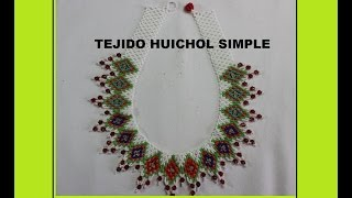 getlinkyoutube.com-TEJIDO HUICHOL SIMPLE COLLAR EN MOSTACILLA 2