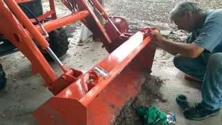 getlinkyoutube.com-Kubota B2320 Compact Tractor Front Bucket Chain and Clevis hooks Installation