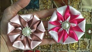 getlinkyoutube.com-Flor de fita com duas cores - PAP - Cris Albuque