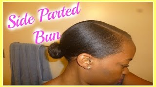 getlinkyoutube.com-Deep Side Parted Low Bun Tutorial On Relaxed Hair | Protective Style