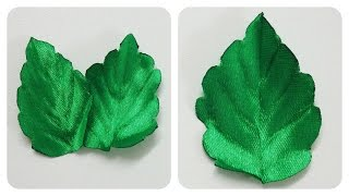 getlinkyoutube.com-How to make ribbon leaves I Green leaves tutorial I DIY kanzashi