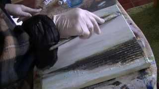 getlinkyoutube.com-Acrylmalerei, painting acrylic, Spachtelarbeit, palette knife, toothed spatula...